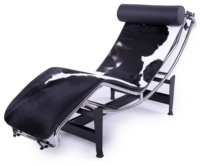 Kardiel le corbusier style lc4 chaise lounge black and for Black and white chaise lounge