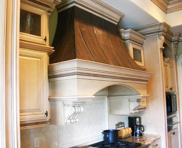 Wood Vent Hoods ~ Wood copper kitchen range hood traditional hoods