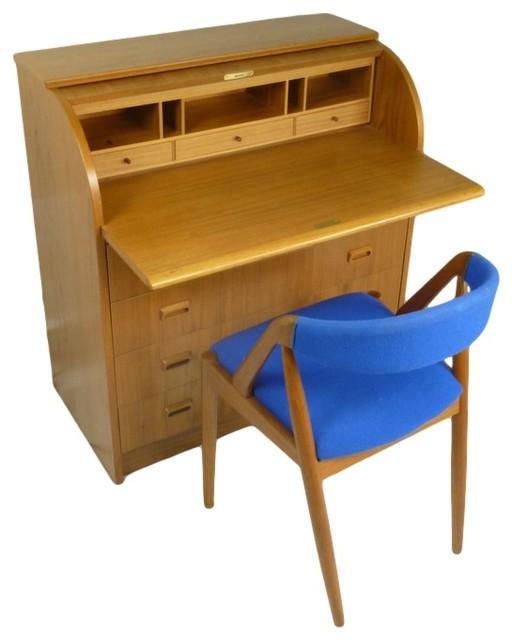 mid century modern danish teak roll top desk midcentury desks and hutches atlanta by. Black Bedroom Furniture Sets. Home Design Ideas