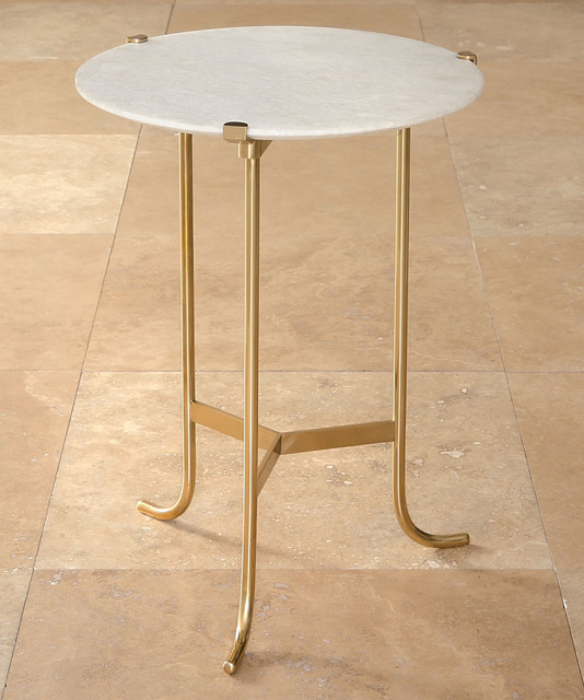 Polished Brass / White Honed Marble