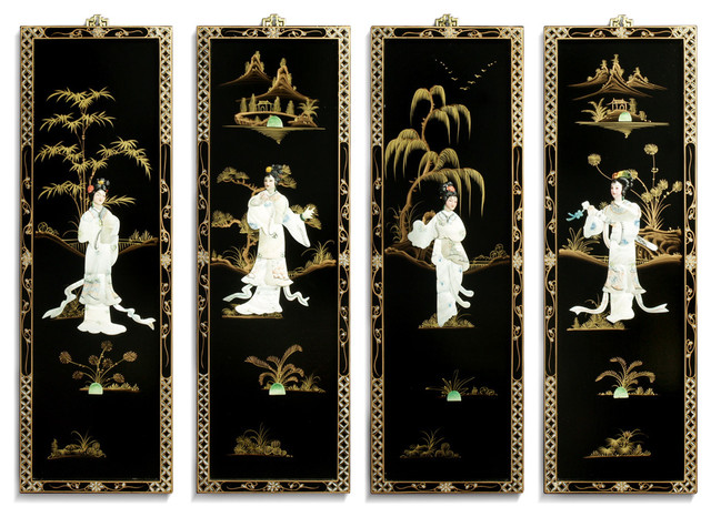 Black Lacquer Wall Sconces : Black Lacquer Wall Plaques with Mother Pearl asian-wall-sculptures