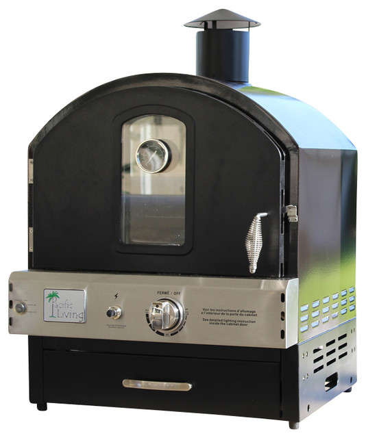 Outdoor Black Powder Coat Steel Gas Oven - Traditional - Outdoor Pizza Ovens - by Pacific Living Inc