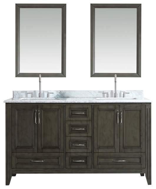 "Jude 60"" French Grey Bathroom Vanity Contemporary"
