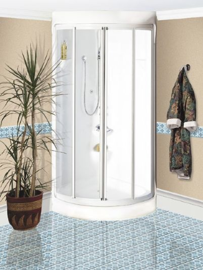 Maax Breeze One Piece Round Corner Shower Without Roof Cap And 1 2 IES