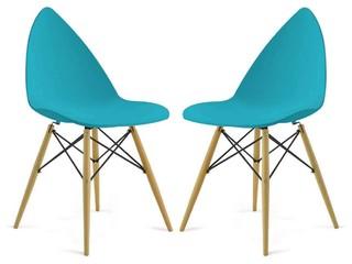 lot de 2 chaises design clover couleur turquoise scandinave chaise de salle manger par. Black Bedroom Furniture Sets. Home Design Ideas