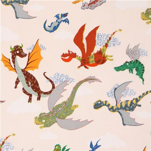 Cream alexander henry fairy tale dragon fabric the dragons for Dragon fabric kids