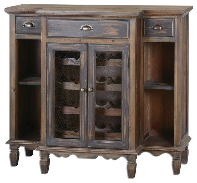 Reclaimed Wood Console Wine Cabinet Traditional Wine And Bar Cabinets By My Swanky Home