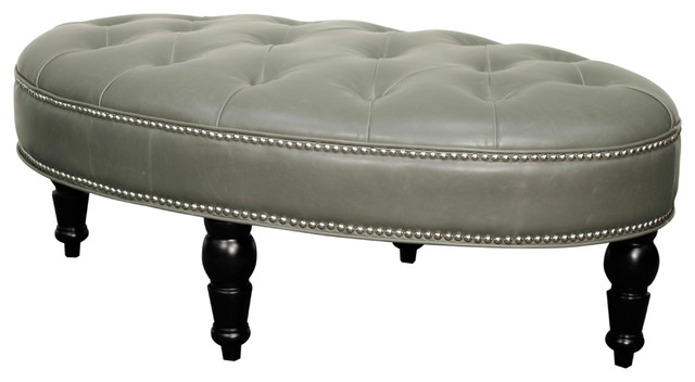 Capella Oval Tufted Ottoman Vintage Gray Traditional