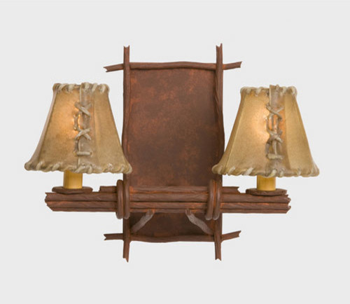 Vanity Lights Stick On : Bundle Of Sticks Rust Two-Light Bath Fixture with Antique Rawhide Shades - Traditional ...