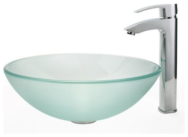 Frosted Glass Vessel Sink & Visio Bathroom Faucet - Contemporary ...
