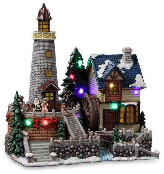 Christmas Lighthouse Village Figurine Traditional