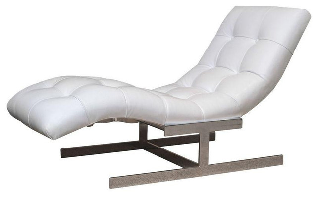 Milo baughman white leather chaise lounge for Blue leather chaise lounge