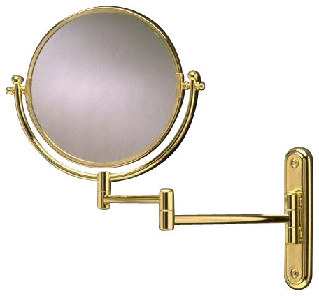 Swing Arm Rotating Mirror Polished Brass Transitional