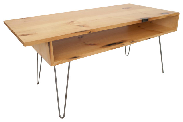 Midcentury Modern Reclaimed White Pine Coffee Table With Hairpin Legs Midcentury Coffee Tables