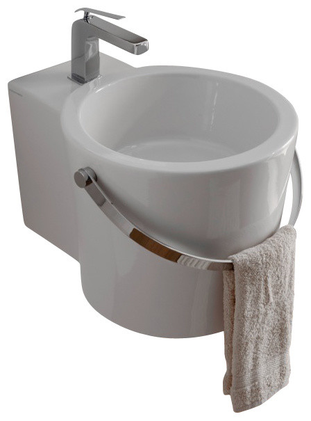 Round White Ceramic Bucket Wall Mounted Or Vessel Bathroom