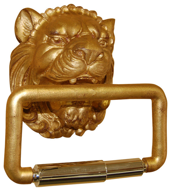 Lion head toilet paper holder gold leaf traditional toilet paper holders by cpi - Gold toilet paper holder stand ...
