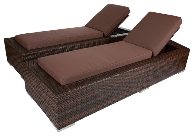 Ohana mixed brown chaise lounge set brown contemporary for Brown chaise lounge outdoor