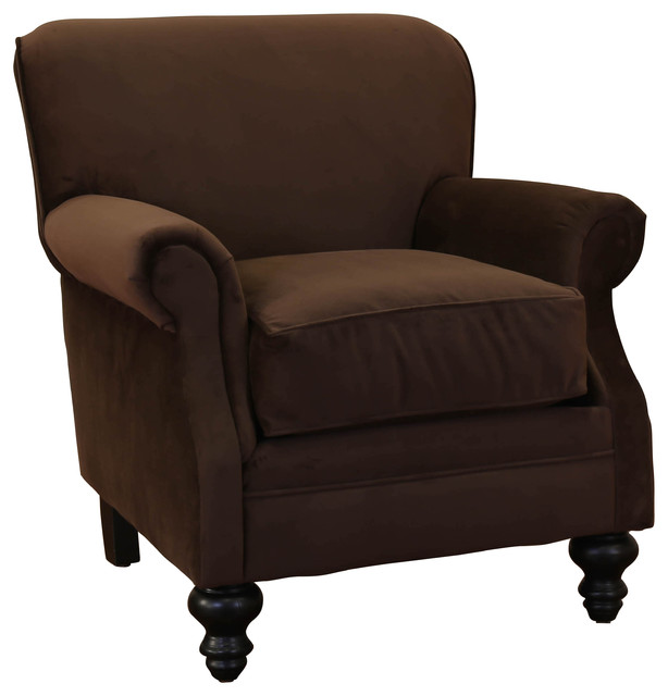 charles chocolate fabric rolled arm accent club chair classique chic fauteuil par michael. Black Bedroom Furniture Sets. Home Design Ideas