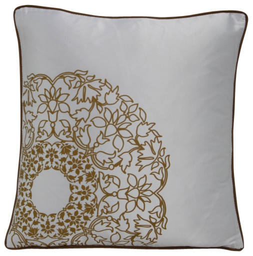 White Gold Throw Pillow : Transitional White and Gold Print Throw Pillow - Transitional - Decorative Pillows - by LA ...