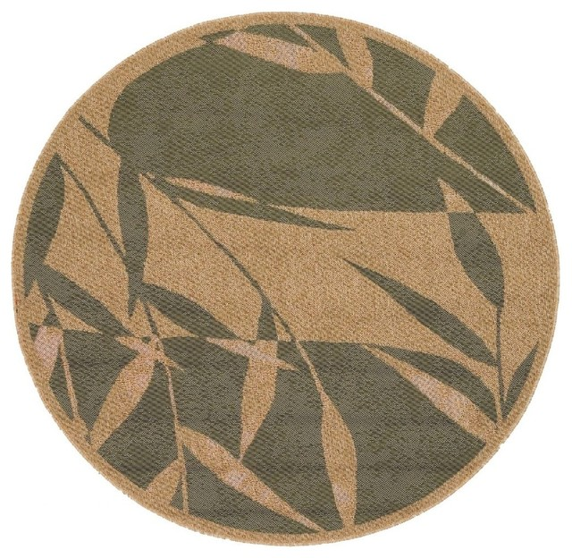 "Indoor Outdoor Alfresco Round 7 3"" Round Tan Area Rug"