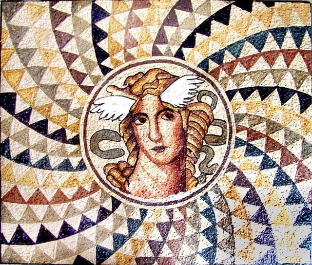 Greek goddess illusion mosaic mural mediterranean tile for Ancient greek mural