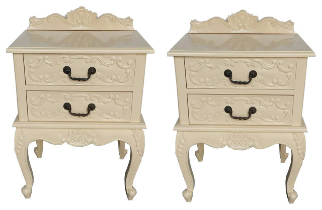 Pair of french louis xv nightstand tables in beige for French nightstand bedside table
