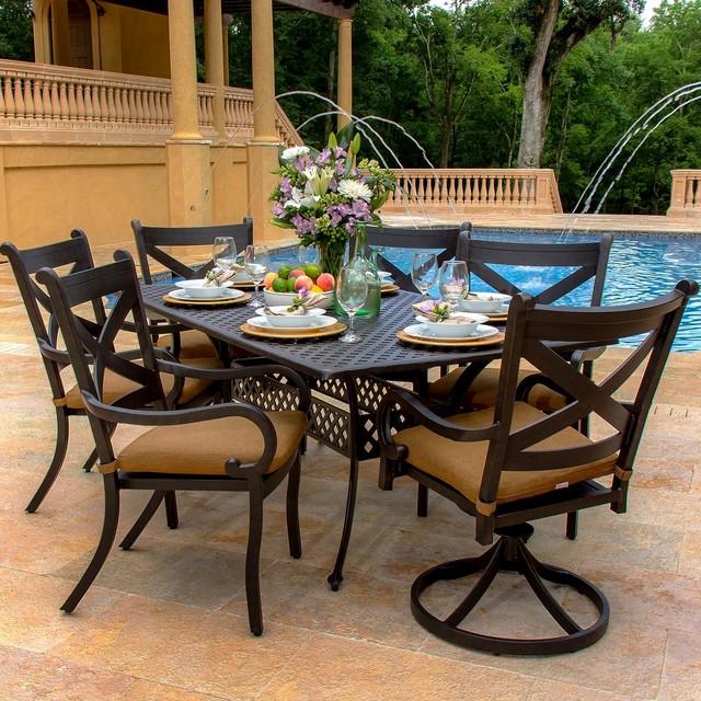 avondale 6 person cast aluminum patio dining set modern