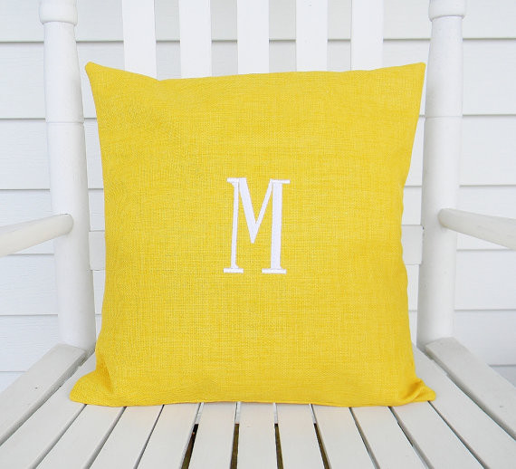 Monogrammed Outdoor Pillow Cover In Daffodil By Designs By Them - Contemporary - Outdoor ...
