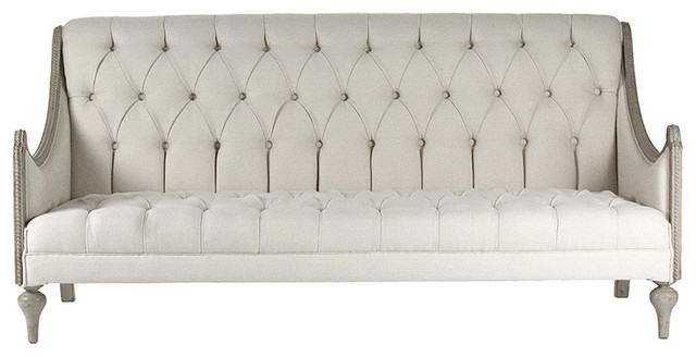 Yvone French Country Light Natural Tufted Sofa Bench