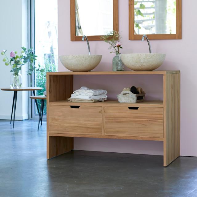 Meuble sous vasque en teck 110 kwarto contempor neo for Meuble lavabo 110