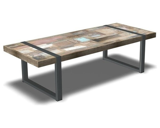 Inside75 table basse h ritage teck massif ancien - Table basse reglable hauteur ...