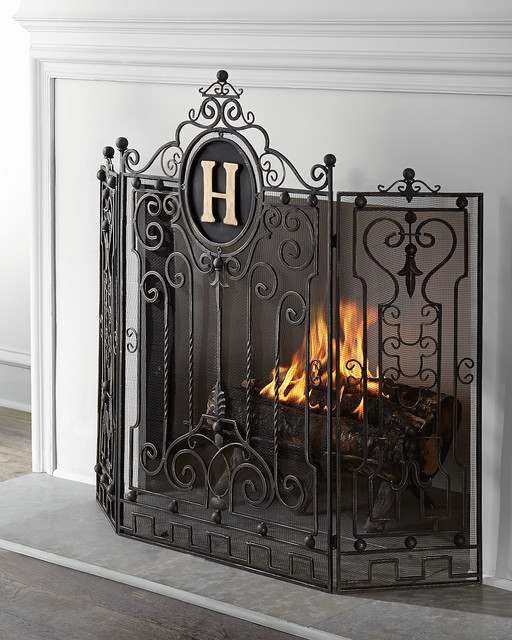 Personalized Fireplace Screen GOLD Contemporary