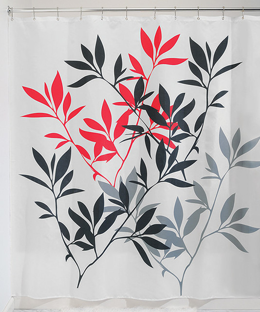 Red leaves shower curtain modern shower curtains