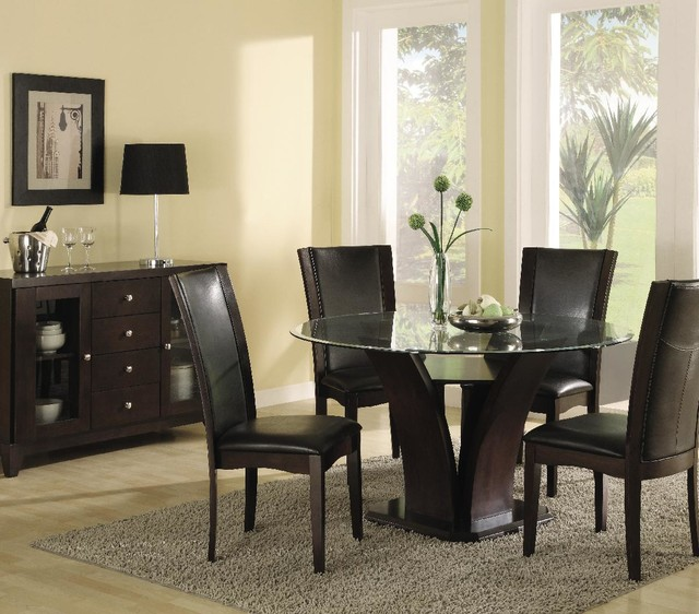 piece round dining room set in espresso contemporary dining sets