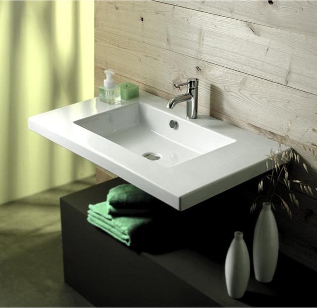 Sink In Wall : Wide Rectangular Ceramic Wall Mounted, Above Counter, or Drop-In Sink ...