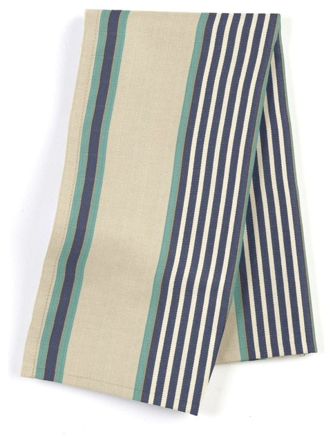 Gray Teal And Blue Stripe Napkin Set Of 4 Contemporary