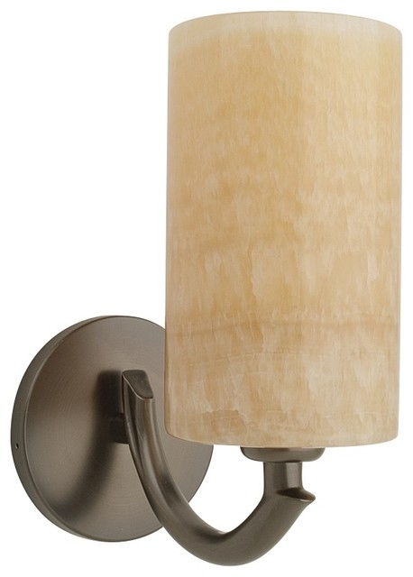 Bronze and onyx cylindrical wall sconce transitional - Cylindrical wall sconce ...