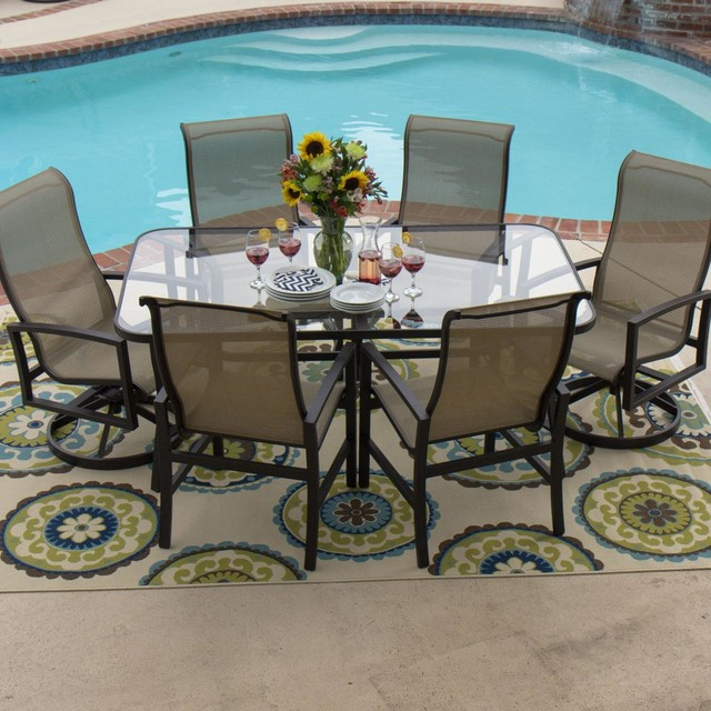 Acadia 6-Person Sling Patio Dining Set With Glass Top