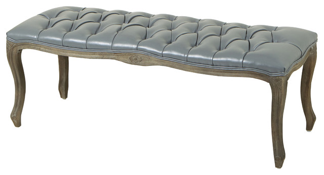 Francis Gray Leather Ottoman Bench Traditional Accent And