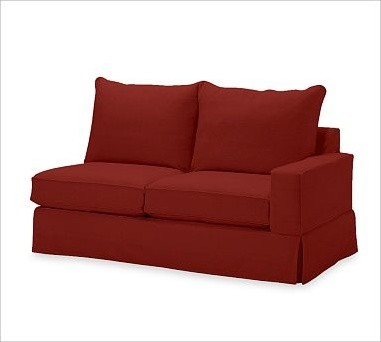 PB Comfort Square Right Love Seat Slipcovers Twill Sierra Red Traditional