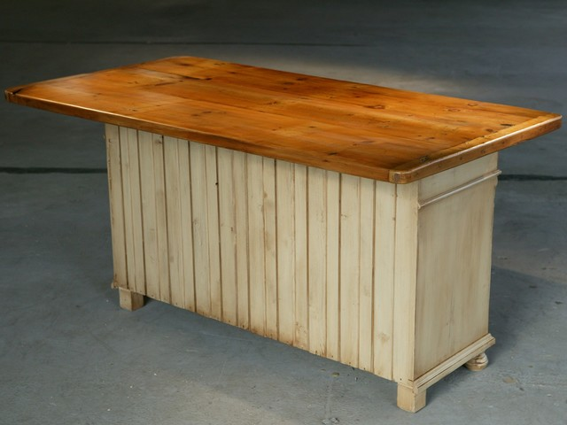 Reclaimed wood kitchen island traditional