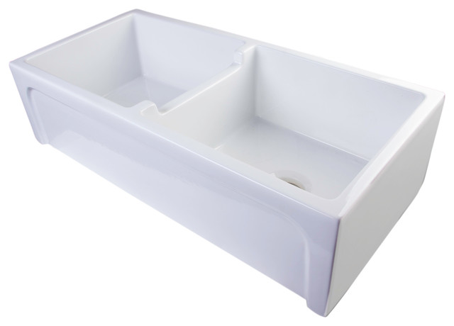 Double Bowl White Farmhouse Sink : ... Thick Wall Fireclay Double Bowl Farm Sink farmhouse-kitchen-sinks