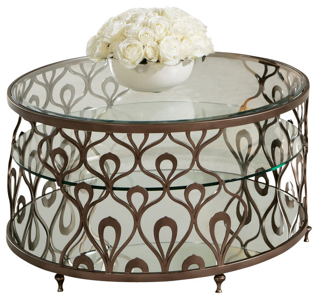 American Drew Bob Mackie Round Glass Top Cocktail Table With Metal Base Traditional Coffee