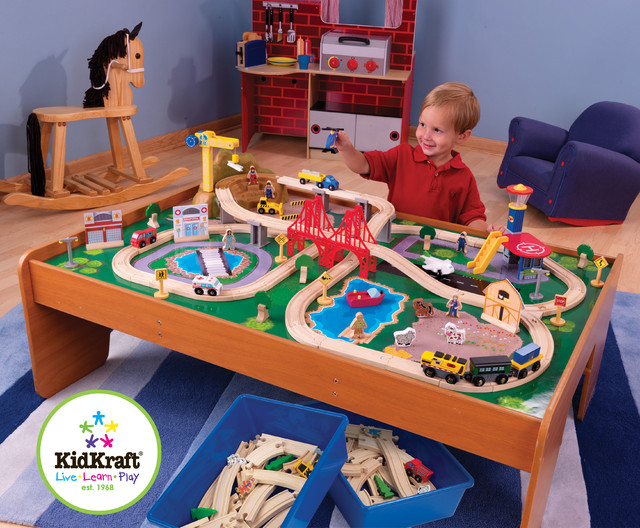 Kids Toy Train Kidkraft Ride Around Town Train Set with Table From Vistastores - Traditional ...