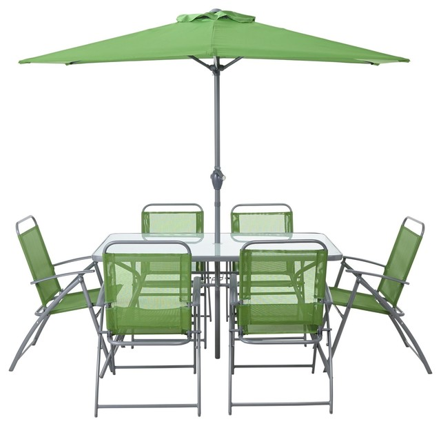 Images For Bahama Metal 4 Seater Dining Set Parasol