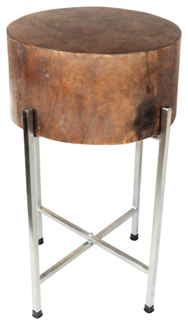 Slim mango wood stool table stella with silver legs for Slim side table