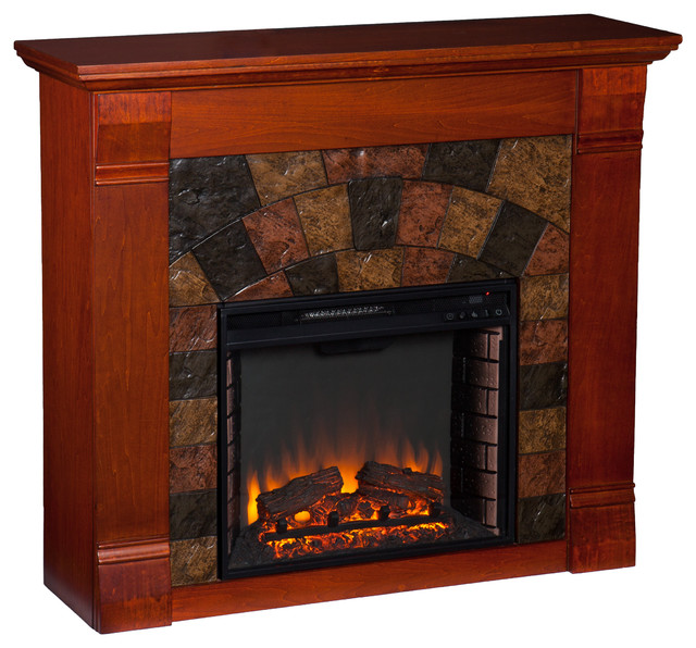 Upton Home Wixon Mahogany Electric Fireplace Contemporary Fireplaces By