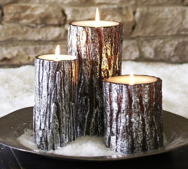 Metallic bark pillar candles contemporary candles by for Shimmer pillar candle