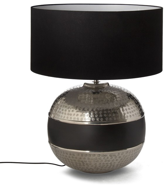 mahara lampe avec abat jour alu noir h56cm contemporain lampe poser par alin a mobilier. Black Bedroom Furniture Sets. Home Design Ideas