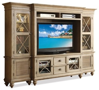 Coventry 4-Piece Wall System, Weathered Driftwood - Contemporary - Entertainment Centers And Tv ...